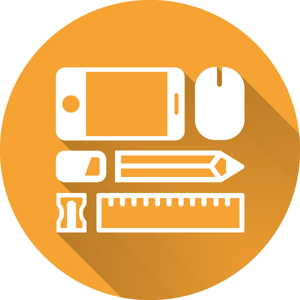 Círculo naranja sobre el que hay organizadas herramientas de diseño: un móvil, un ratón, una goma, un lápiz, un afilador y una regla